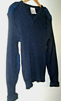 $14.88 • Buy Brigade Quartermasters Woolly Pully British Navy Ribbed Wool V-Neck Sweater 40 M