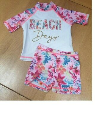 £5.95 • Buy Baby Girls Toddler Two Piece Uv Upv Spf 50+ Sun Protection Suit 12 To 18 Months