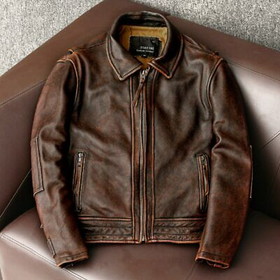 $110 • Buy Mens Custom Leather Jacket Soft, Real Leather Slim Fitted Classic Biker Jacket