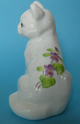 $45 • Buy Fenton White Milk Glass Cat Hand Painted Violets In The Snow Signed Kitten Kitty