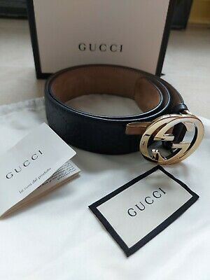 AU140.14 • Buy Authentic Gucci Signature Leather Belt Double G Gold Buckle Size 70 Style 370543