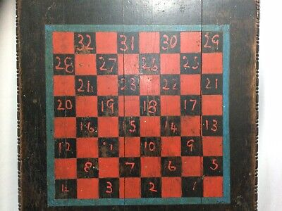$ CDN124.63 • Buy RARE-Antique Wood Checker Board~23-Inch Square Game Board~Painted Numbers 1-32
