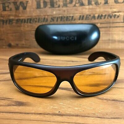 AU202.46 • Buy Vintage Gucci 1190/S Translucent Rootbeer Brown & Yellow Lens Sunglasses