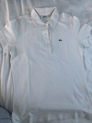 £7 • Buy Lacoste Original Women White Polo Shirt Size 38 In Excellent Consitions