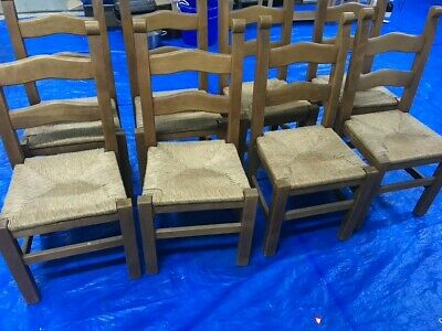 AU135 • Buy 8 X Wood And Rattan Dining Chairs (used Excellent Condition)