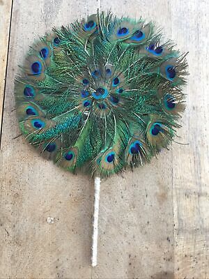 £40 • Buy Beautiful Vintage Peacock Feather Hand Fan - Double Sided