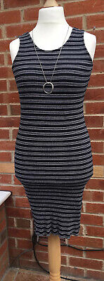 AU11.19 • Buy Ladies Primark Size 12-14 Navy Blue White Dress Summer Stretchy Immaculate L5