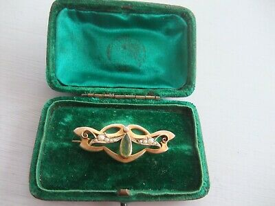 £75 • Buy VICTORIAN 9ct. GOLD PEARL And PERIDOT BROOCH In Original Box