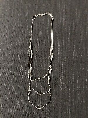£2 • Buy Three Strand Silver And Crystal Long Necklace