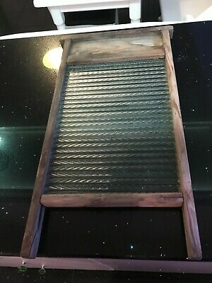 £24.99 • Buy Vintage Washboard. Glass And Wood. Ribbed Glass 60cm High 30 Wide GC For Age