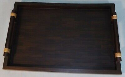 $45 • Buy Vtg Maitland-Smith Wood Serving Tray With Handles