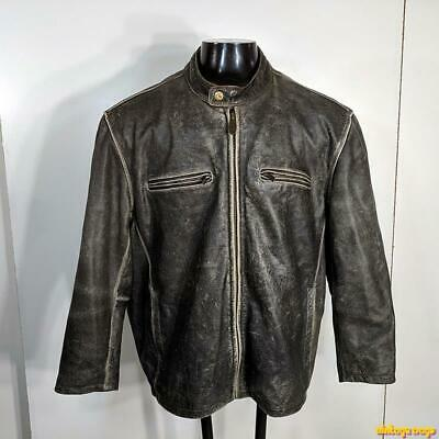 $149.99 • Buy RIVER ROAD Lambskin Leather Cafe Racer Jacket Mens Size XL 48 Distressed Brown