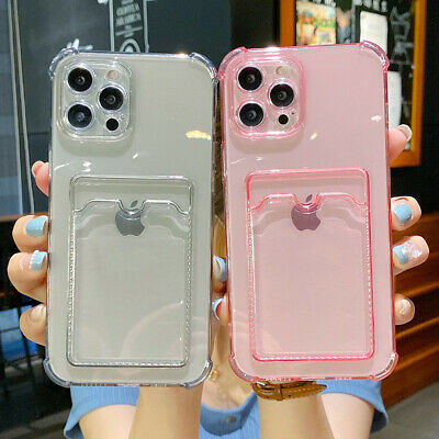 AU7.89 • Buy For IPhone 12 11 Pro Max XS XR 8 7 Wallet Card Holder Silicone Clear Case Cover