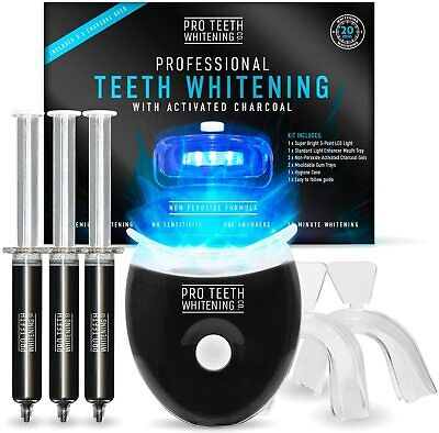 AU36.40 • Buy Premium Teeth Whitening Kit With Activated Charcoal - Blue 5-Point LED Light...