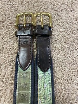 $18 • Buy Two Blue VINEYARD VINES Canvas Club Belts With Golf Clubs + Fish Design, Size 34