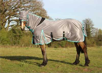 £24.49 • Buy Clearance Horse Fly Rug Set With Free Fly Mask Combo Neck White Sky Blue Grey