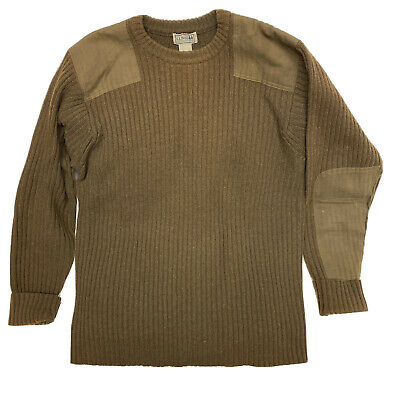 $49.99 • Buy LL Bean Sweater Mens Size XL Military Green Merino Lambswool Elbow Patches
