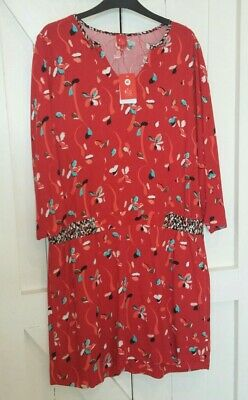£15 • Buy Miss By Captain Tortue Ladies Red Floral Mix Dress- Size 14-new