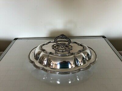 £39.99 • Buy Oval Silver Plated Entree Dishes With Detachable Handle & Beaded Border (ed- 54)
