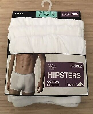 """£11.99 • Buy 3 Pack M&S Mens Cotton Cool & Fresh Hipsters XL Waist 39-41"""""""