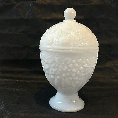 $14.99 • Buy Vintage White Milk Glass Compote Candy Dish With Lid Flowers Pedestal Avon