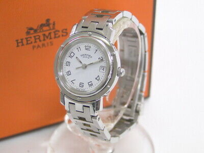 £286.97 • Buy Auth HERMES Wrist Watch Date Clipper CL4 210 Silver Tone White 41170622900  P