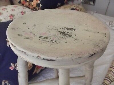 $95 • Buy Antique White Painted Cottage Barn Wooden Stool