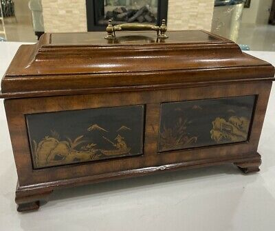 $195 • Buy Maitland-Smith Footed Handle Inlayed Wooden Hinged Box 14 X 7.5