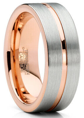 $19.99 • Buy Mens Tungsten Ring Rose Goldtone Wedding Band Grooved Comfort-fit 8MM