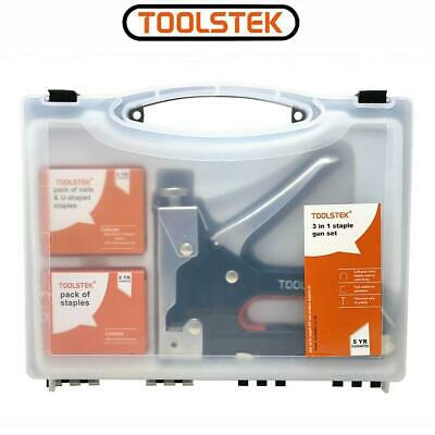 £11.99 • Buy Heavy Duty Stapler Staple Gun With 600 Staples U Cable Upholstery Nail Joinery