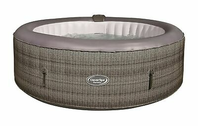 £500 • Buy Used CleverSpa Florence 6 Person Inflatable Hot Tub 130 Jet - Rattan Effect