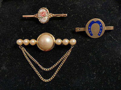 £5.50 • Buy Brooch Bundle Of 3 Small Vintage Pin Brooches Porcelain & Rolled Gold Horseshoe