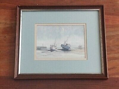 £48 • Buy St Ives Smeaton Pier Wilfred Eaton, Cornwall Water Colour Painting Fishing Boats