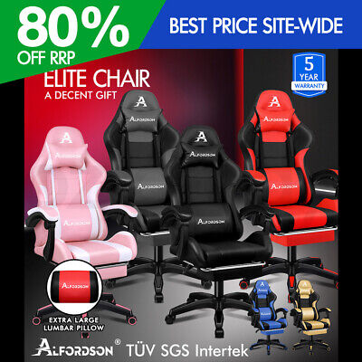 AU169.95 • Buy ALFORDSON Gaming Office Chair Extra Large Pillow Racing Footrest Seat PU Leather