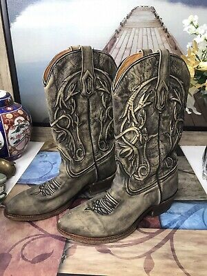 $86.25 • Buy Corral Mens Cowboy Black Distressed Leather Boots Size 9 1/2 D