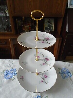 £10 • Buy 3 Tier (24cm/19cm/17cm) Porcelain Cake Stand - Pink Roses And Gilt Edge
