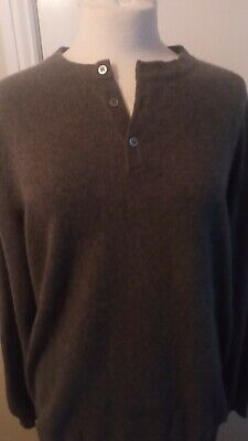 £120 • Buy N Peal Pure Cashmere Button Crew Long Sleeves - Dark Grey -x Large