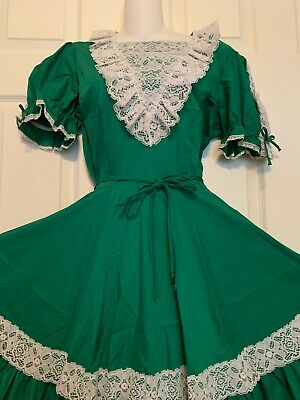 $50 • Buy Square Dance 1 Pc Dress Green And White Lacy  Malco Modes  Large Size 18
