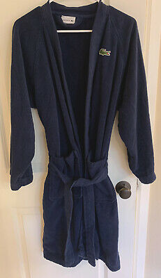 $20 • Buy Lacoste Men Navy Blue 100% Cotton Classic Terry Bath Robe With Belt Pre-Owned