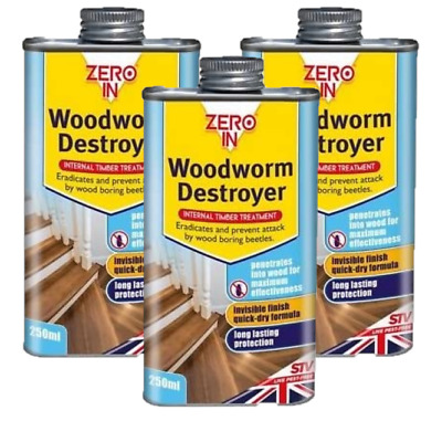 £8.45 • Buy Zero In Woodworm Destroyer Killer Timber Treatment Fast Drying 250ml ZER978
