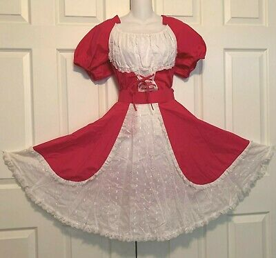 $50 • Buy Costune Square Dance 2 Pc Dress Dark Rose And White Lacy  Fashions By Betty  Med