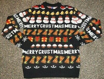 $19.99 • Buy Divided Black Merry Crustmas Pizza Food Ugly Christmas Sweater Size Small