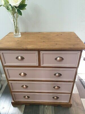 £49.99 • Buy Upcycled Pine Chest 5 Drawer.Pink Dark Waxed.Solid Unit.