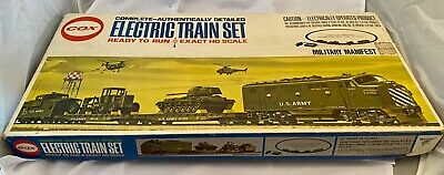 $100 • Buy Cox HO Electric Train Set Military Manifest With Extra Car Instead Of Track