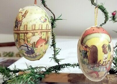 $1.29 • Buy Two  Papier-Mache Eggs. 1920s German Candy Container Ornaments. Easter Tree