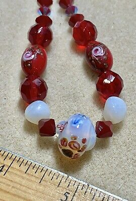 $15 • Buy Vintage Beads Millefiori,Swarovski,Murano, Opalescent Old Faceted Red Glass *