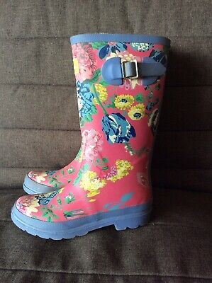 £10 • Buy Girls Joules Pink Floral Wellington Boots Wellies Size 2
