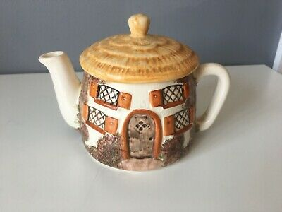 £2 • Buy Novelty Cottage Teapot With Thatched Round Roof - Made In England