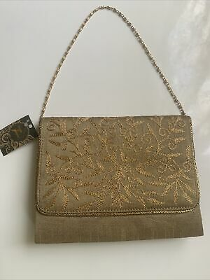 £3 • Buy House Of Jaipur Cluch Bag With Gold Leaf Pattern And Gold Chain Strap