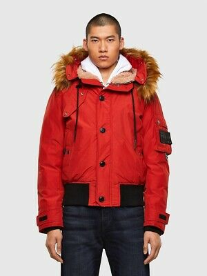 $90.34 • Buy Diesel Mens XL Size W-Jame Padded Puffer Jacket With Faux Fur-trimmed Hood New